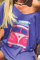 Fashion Lady Bus Printed Short Sleeve T-Shirts