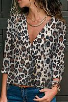V Neck  Single Breasted  Leopard  Blouses