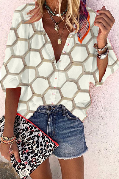 Casual V-Neck Single-Breasted Cropped Sleeves Hexagonal Printed Shirt