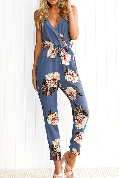 V Neck  Backless Drawstring  Floral Printed Jumpsuits