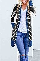 Single Breasted Snap Front  Striped Cardigans