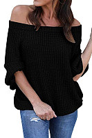 Off Shoulder  Plain  Basic Sweaters