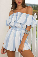 Strapless  Backless  Stripes  Short Sleeve  Playsuits
