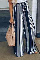Long  Fitted Casual  Striped  Pants