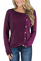 Long Sleeve Plain Button Casual T-Shirts
