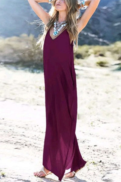 Spaghetti Strap  Plain  Sleeveless Maxi Dresses