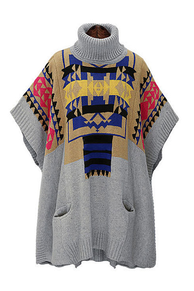 Turtle Neck  Tribal Printed  Batwing Sleeve Outerwear