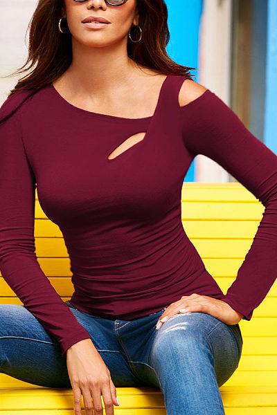 Scoop Neck  Hollow Out Plain T-Shirts