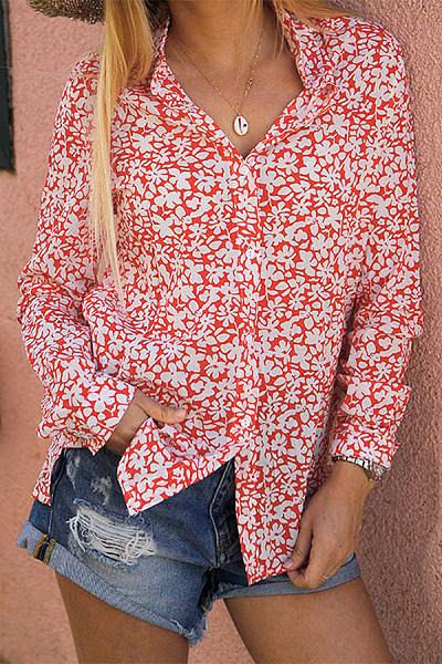 Streetwear A Lapel Beach Long Sleeve Printed Color Blouse