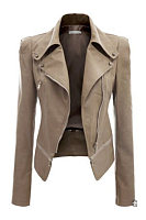 Plain Zips PU Leather Lapel Biker Jacket