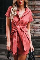 Turn Down Collar  Single Breasted  Belt  Plain  Short Sleeve Casual Dresses
