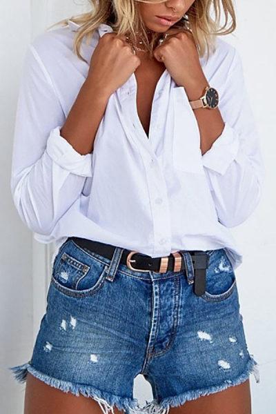 Turn Down Collar  Backless  Plain  Blouses