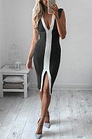 Deep V Neck  Slit  Patchwork  Sleeveless Bodycon Dresses