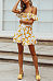 Off Shoulder  Backless  Floral Printed  Extra Short Sleeve Bodycon Dresses