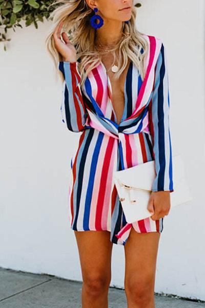 Deep V Neck  Elastic Waist  Striped  Long Sleeve Bodycon Dresses