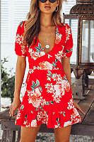Deep V Neck  Print  Short Sleeve Casual Dresses