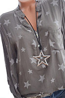 Casual Stand Collar Button Five-Pointed Star Print Long-Sleeved Patch Pocket Shirt