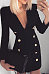 Deep V Neck  Decorative Buttons  Plain  Long Sleeve Bodycon Dresses