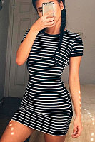 Crew Neck  Striped  Short Sleeve Bodycon Dresses