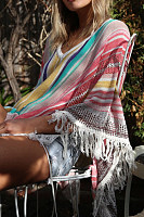 Snap Front  Striped  Basic Cover Ups