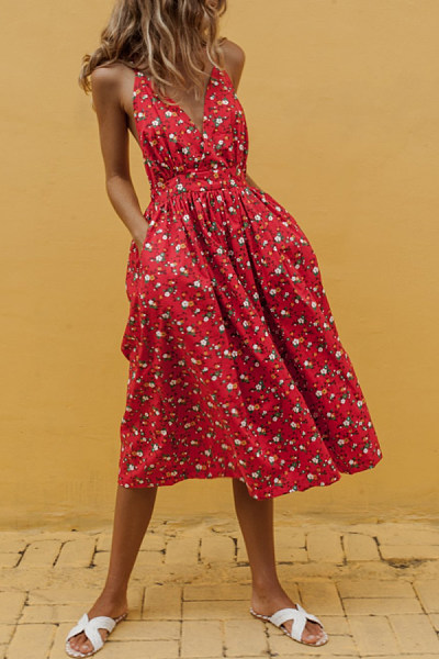 V Neck  Lace Up  Print Maxi Dresses