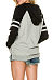 Hooded  Drawstring Slit  Color Block Sweatshirts