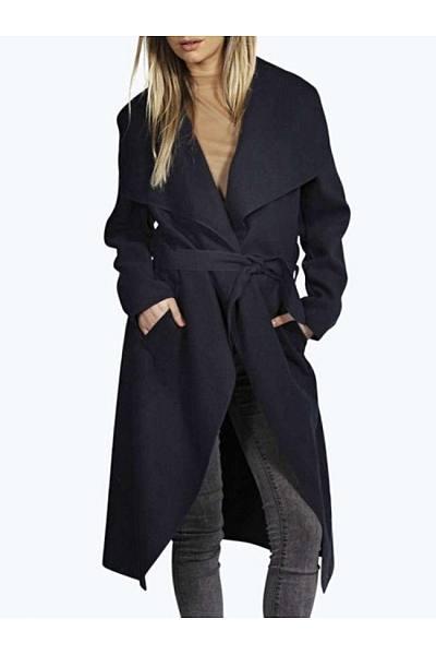 Classic Lapel  Plain Outerwear