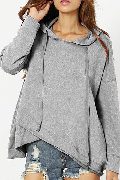 Hooded  Asymmetric Hem  Plain Hoodies