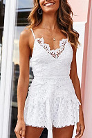 Spaghetti Strap  Decorative Lace  Plain  Sleeveless  Playsuits