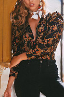 V Neck Printed Casual Blouses