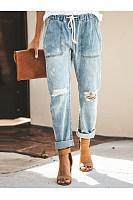 Fashion Broken Holes Patch Pocket Denim Jeans Pants
