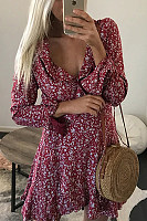 Deep V Neck  Belt Loops  Print  Long Sleeve Skater Dresses