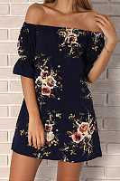Off Shoulder  Single Breasted  Floral Printed  Short Sleeve Casual Dresses