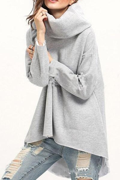 Cowl Neck  Asymmetric Hem  Plain  Sweatshirts