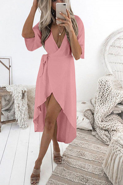 Deep V Neck  Asymmetric Hem  Plain  Short Sleeve Maxi Dresses