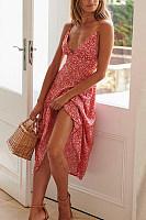 Spaghetti Strap  Backless  Printed  Sleeveless  Elegant Maxi Dresses