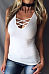Round Neck  Lace Up  Plain Vests