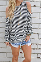 Round Neck  Cutout  Striped T-Shirts