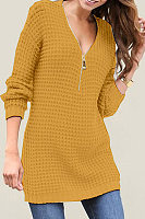 V Neck  Zipper  Plain Sweaters