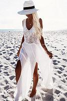 V Neck Slit Crochet Maxi Dresses