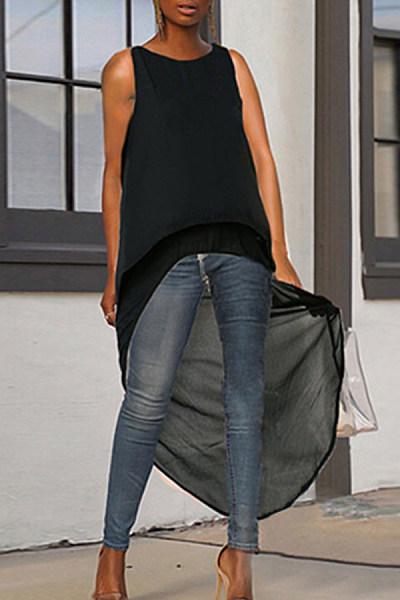 Fashionable Sleeveless Irregular Chiffon T Shirt