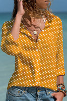 Casual Turndown Collar Long Sleeve Polka Dot Blouse