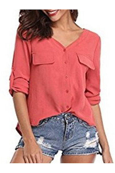 Autumn Spring  Cotton  Women  V-Neck  Plain  Long Sleeve Blouses