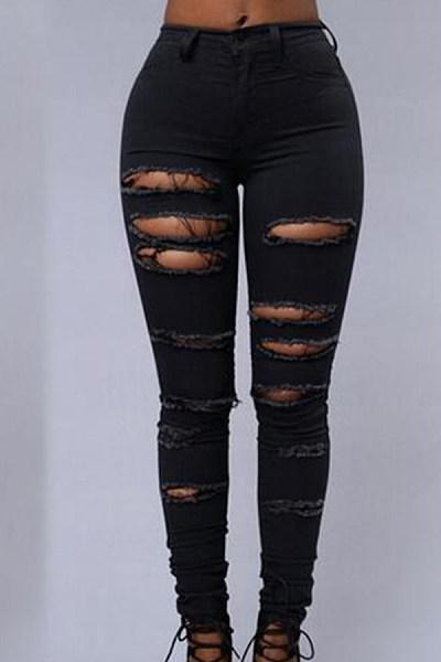 Broken Holes  Autumn  Plain Jeans