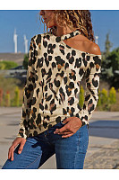 One Shoulder  Cutout  Contrast Stitching  Leopard Long Sleeve T-Shirts
