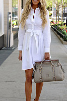 Button Down Collar  Single Breasted  Plain  Long Sleeve Casual Dresses