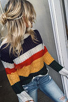 Round Neck  Color Block Sweaters
