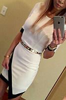 Crew Neck  Asymmetric Hem  Patchwork  Half Sleeve Bodycon Dresses