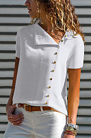 V Neck  Single Breasted  Plain  Blouses