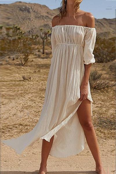 Classy Off The Shoulder Plain Open Fork Dress